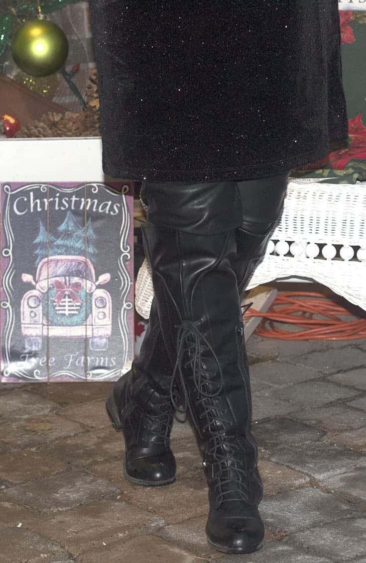 shoe dazzle tie up OTK boots