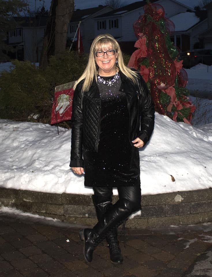 H&M Glittery Dress, leather leggings, OTK tie up boots and a fun moto