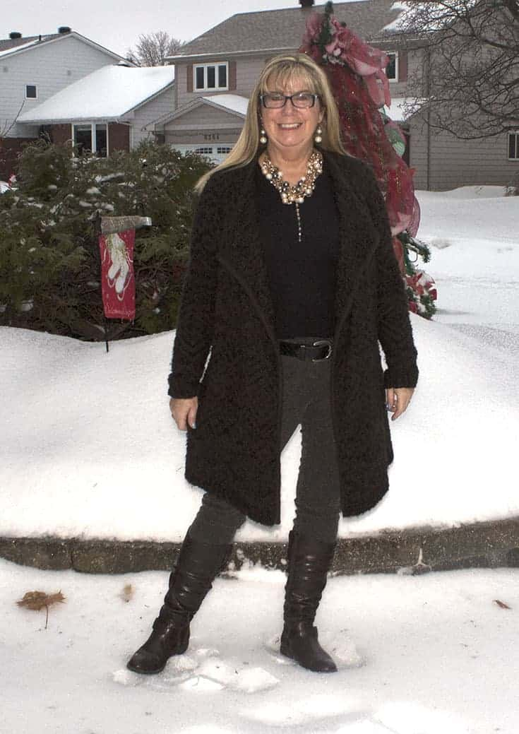 Joe fresh cardigan, Rickie brown tweed pants and GH bass boots, paired with a 7 charming sisters necklace