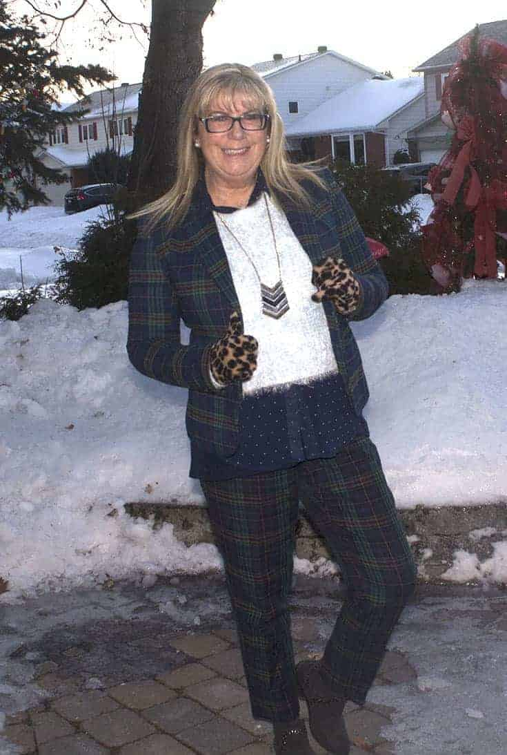 Sheldon Plaid Suit with a fuzzy blue sweater and leopard gloves