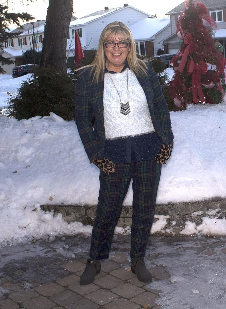 Sheldon Plaid Suit with a fuzzy blue sweater and a touch of dots and leopard and a fun necklace