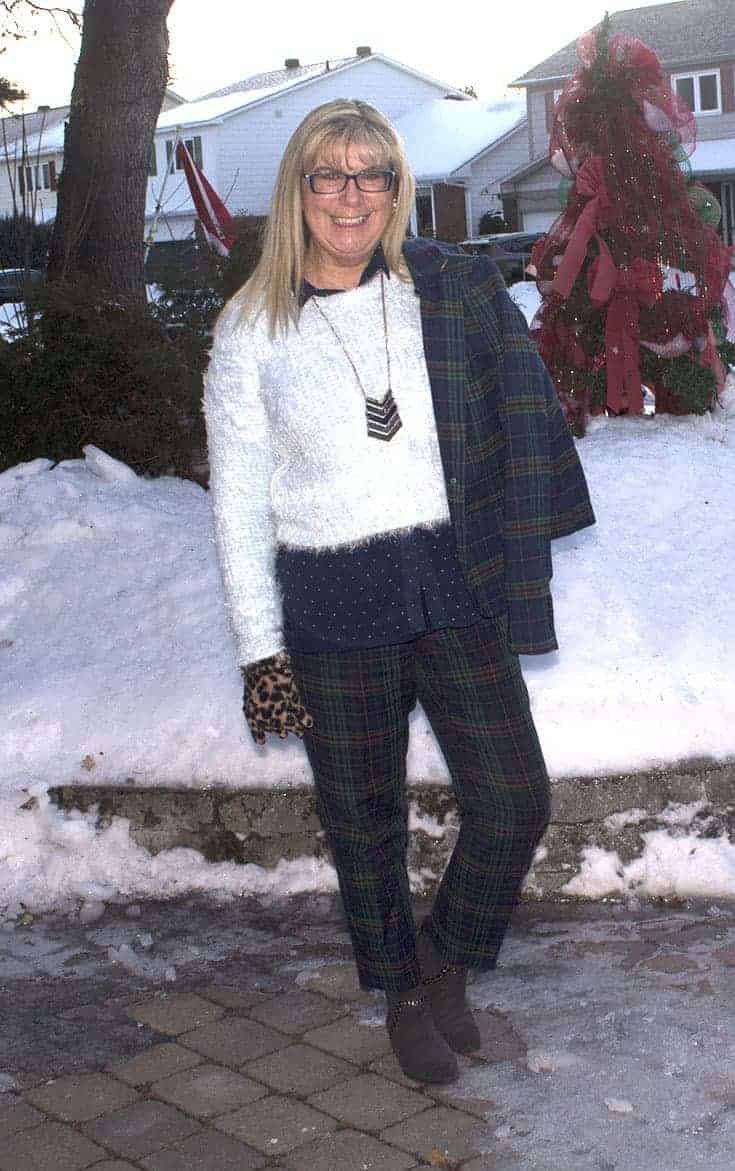 Sheldon Plaid Suit with a fuzzy blue sweater and a touch of dots and leopard