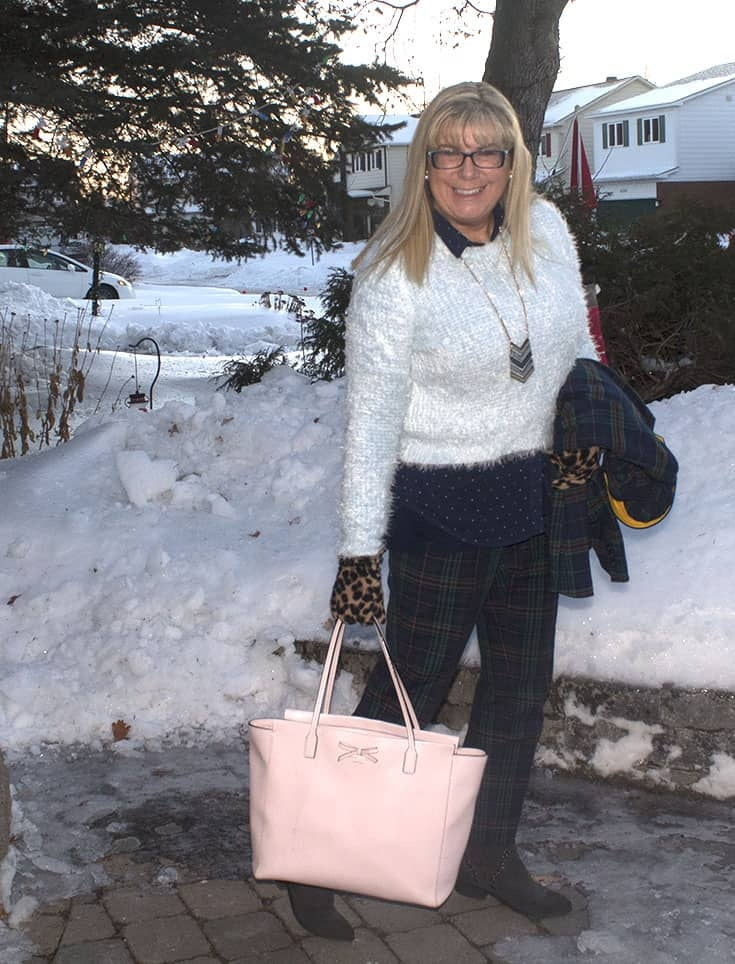 Sheldon Plaid Suit with a fuzzy blue sweater and a pink Kate Spade Bag