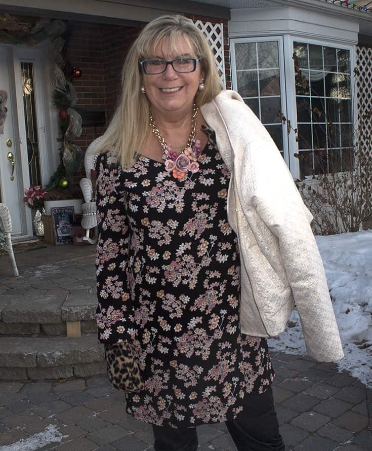 a Pink Floral necklace from Yosa and a fun floral dress from Giant Tiger