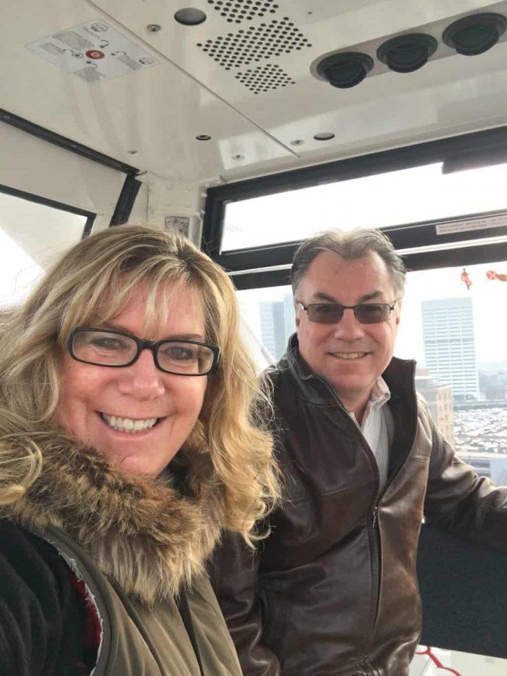 riding the gondola at the Ferris Wheel in Atlanta