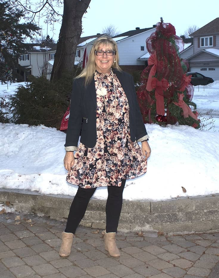 Blue Floral Dress from Target with MK leggings and a shoe dazzle blush wedge boot