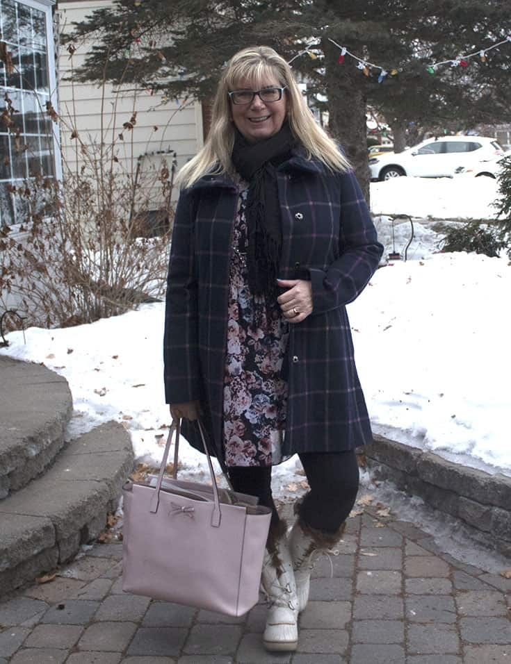 Target plaid coat and white skecher boots