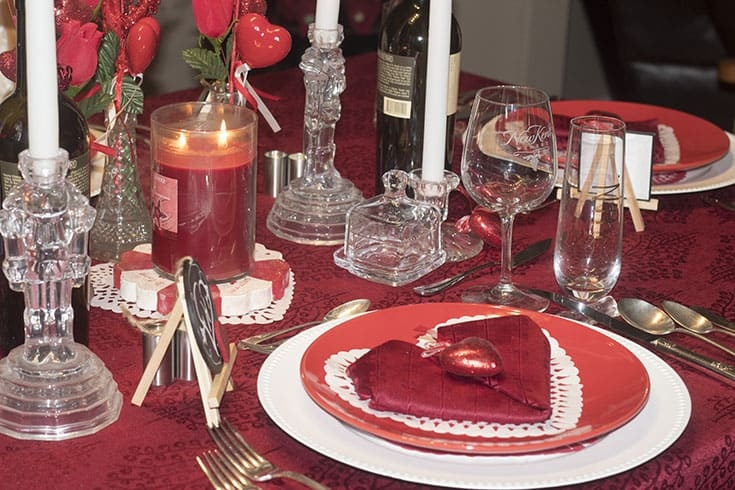 Hearts and Flowers for the perfect Valentine's Day with a heart napkin fold