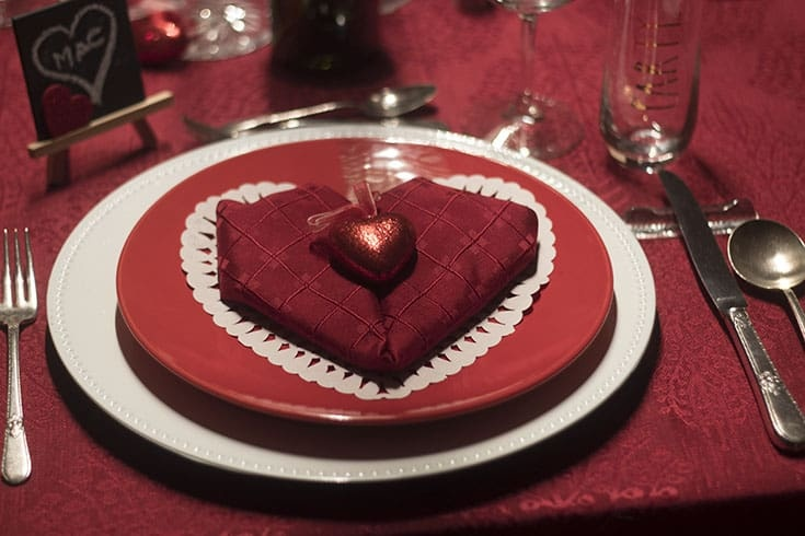 Hearts and Flowers for the perfect Valentine's Day Table with a Heart napkin fold