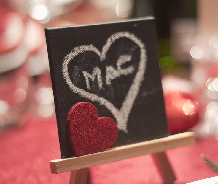 hearts and easels for name cards on Valentines day