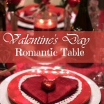 Romantic Valentine's Day Table and heart napkin folds