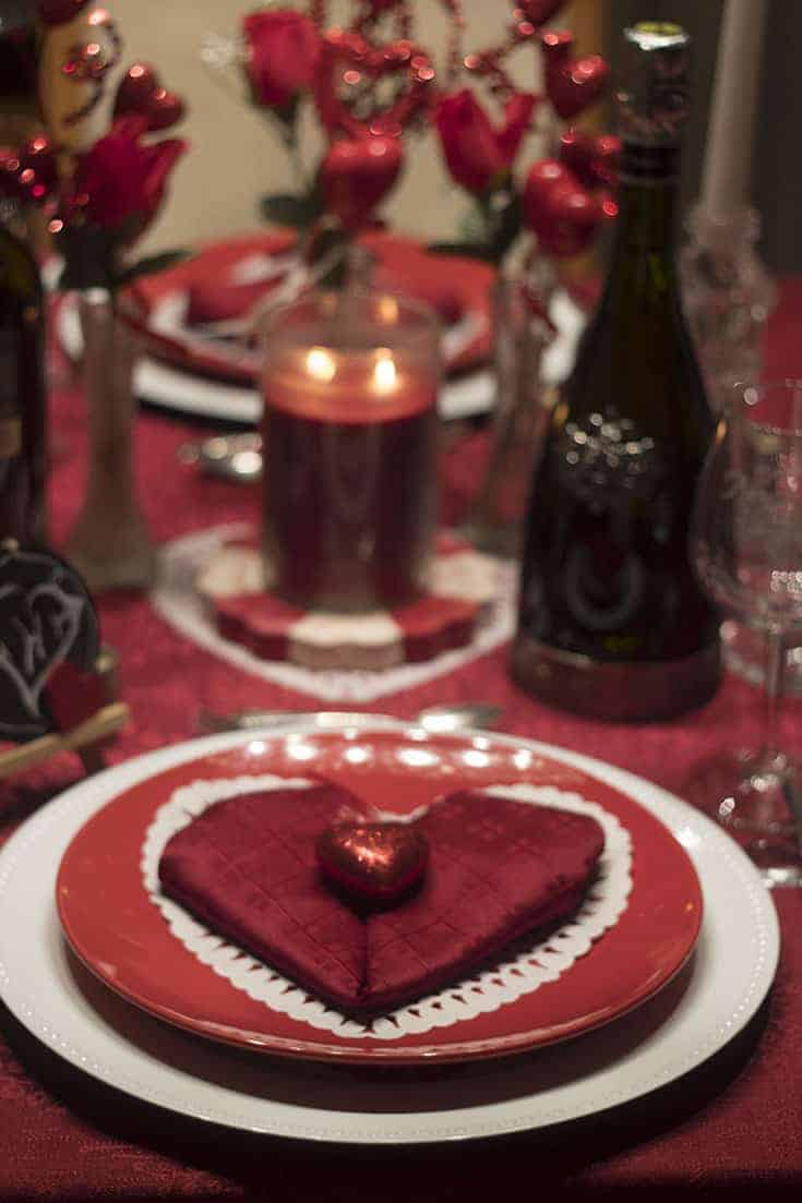 Romantic Valentines Day Table with heart napkins