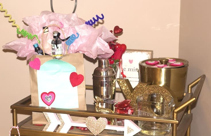 galentines gift on a barcart