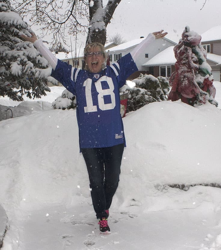 Peyton Manning Jersey on Super Bowl Sunday with Haggar jeans and Nikes