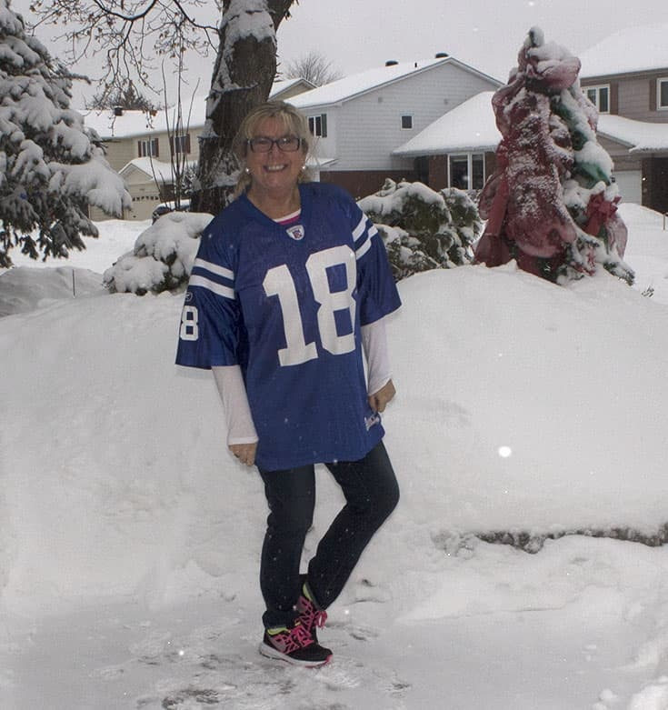 Peyton Manning Jersey and my Patriots Cancer Crusade shirt on Super Bowl Sunday with Haggar jeans and Nikes