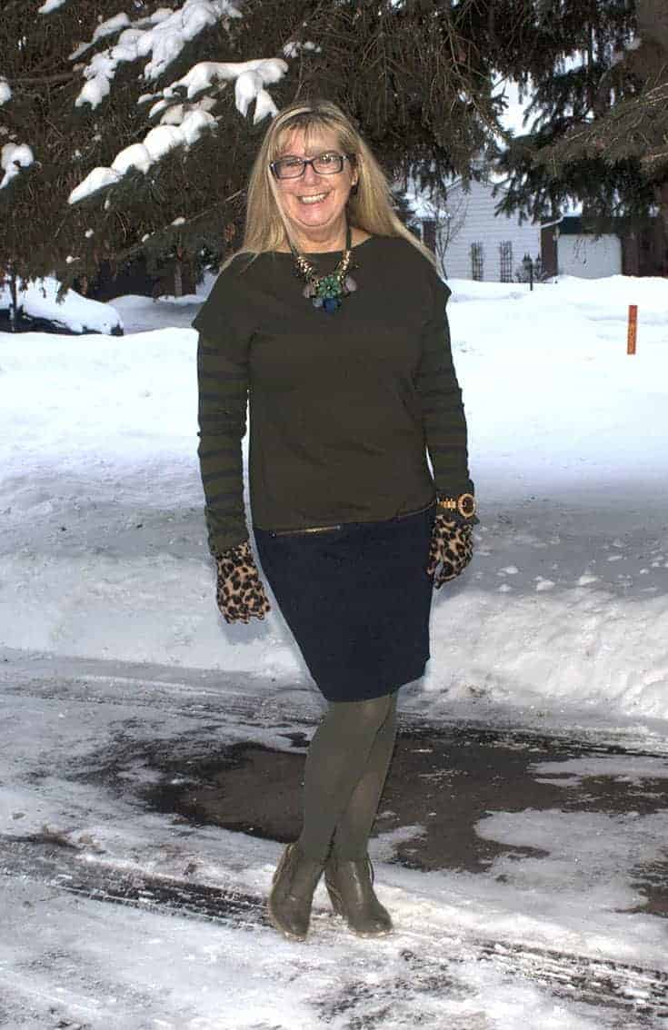 smiling through the snow in Joe Fresh Dress and Nine West booties with a touch of leopard