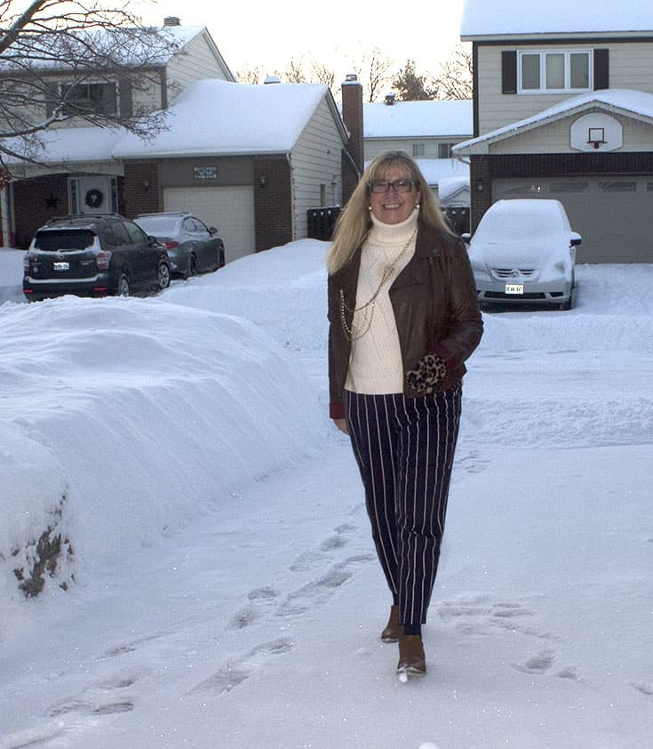 Harper pants from Old Navy with a Banana Republic cream sweater and leather moto. Paired with booties from Forever 21.
