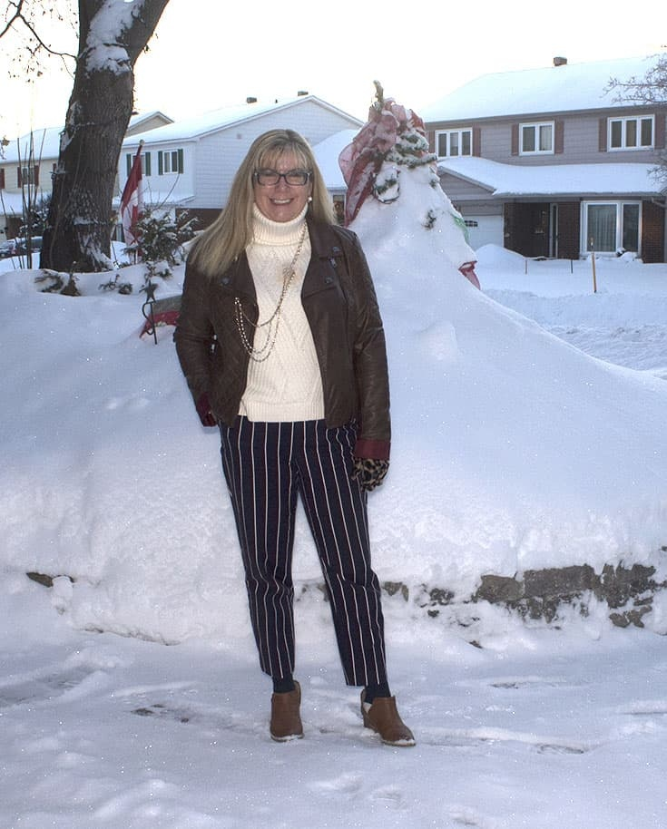 Harper pants from Old Navy with a Banana Republic cream sweater . Paired with booties from Forever 21.