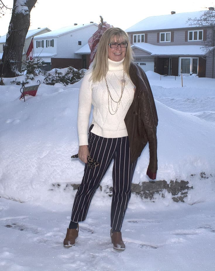 Harper pants with a Banana Republic cream sweater and leather moto. Paired with booties from Forever 21.