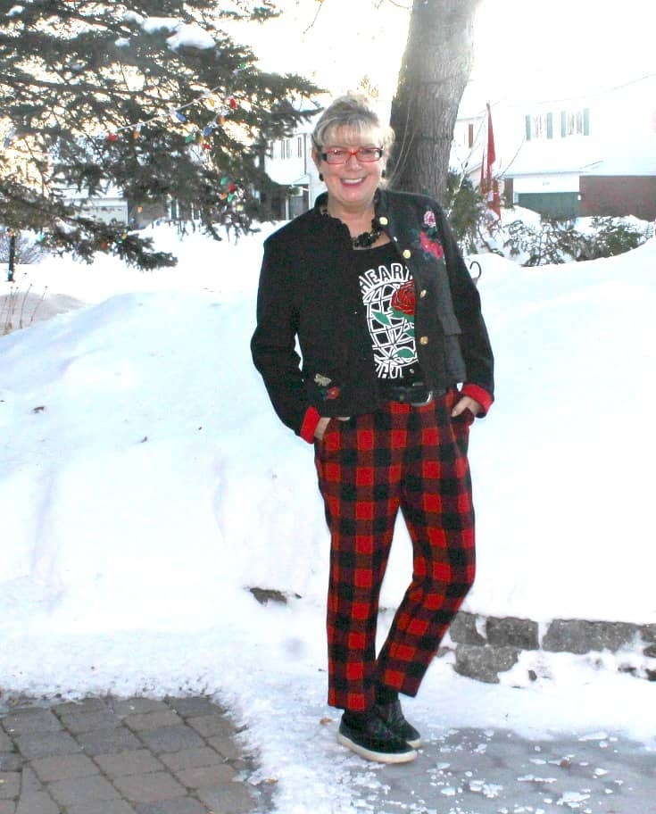 Old Navy Plaid Pants with an embroidered blazer and my Honest Heart Collective Hearts and Roses Tank
