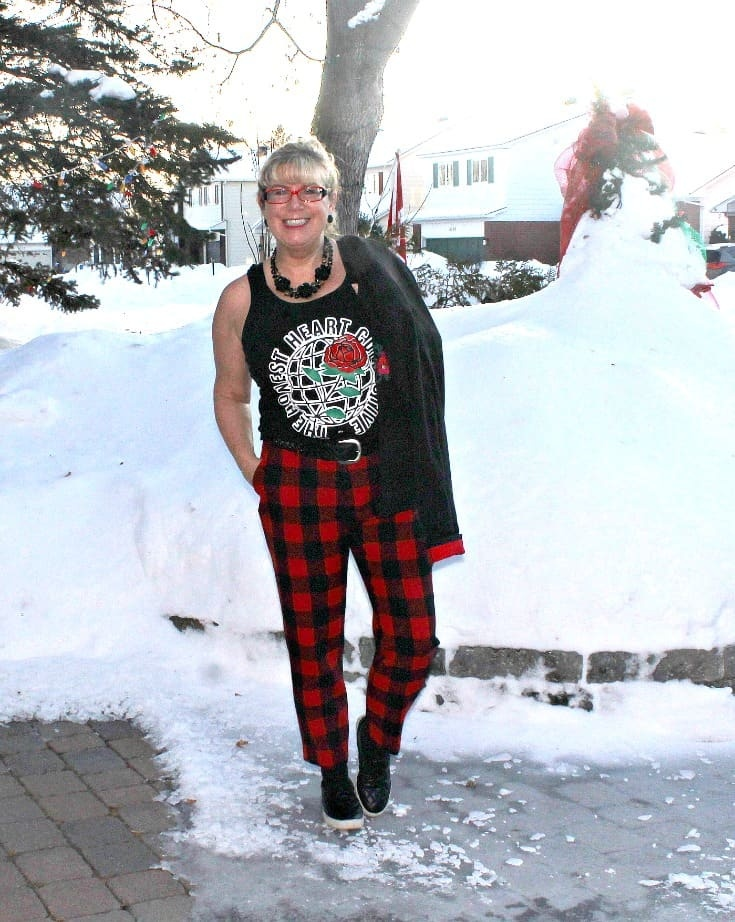 Old Navy Plaid Pants with an embroidered blazer and my Honest Heart Collective Hearts and Roses Tank 3