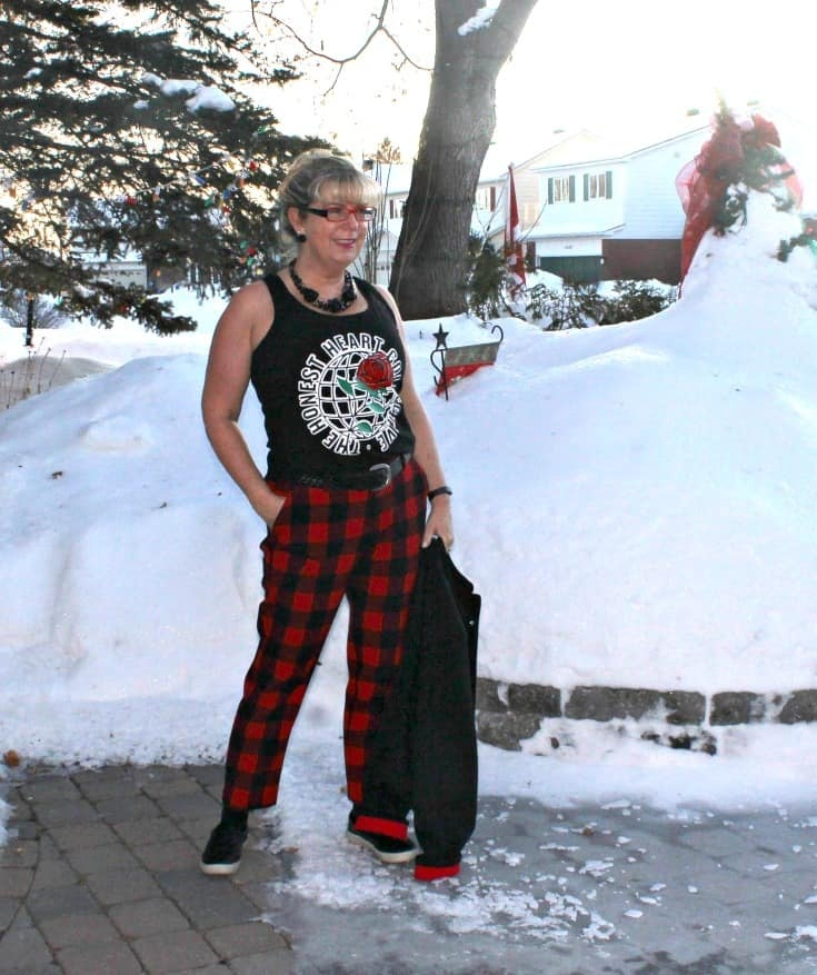 Old Navy Plaid Pants with my Honest Heart Collective Hearts and Roses Tank