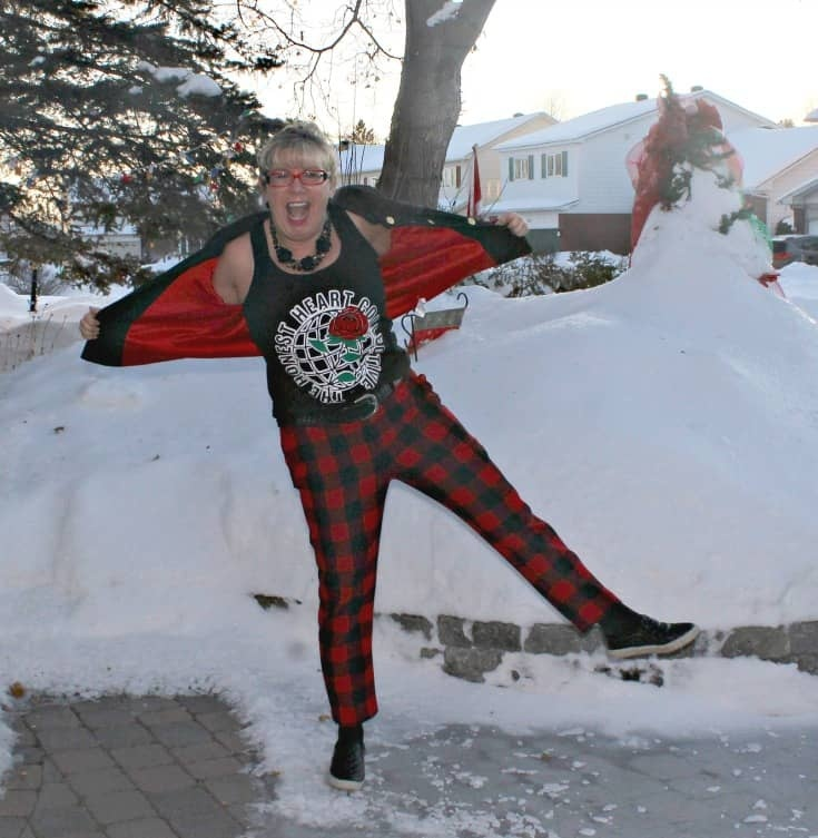 snow angel time in Old Navy Plaid Pants with an embroidered blazer and my Honest Heart Collective Hearts and Roses Tank