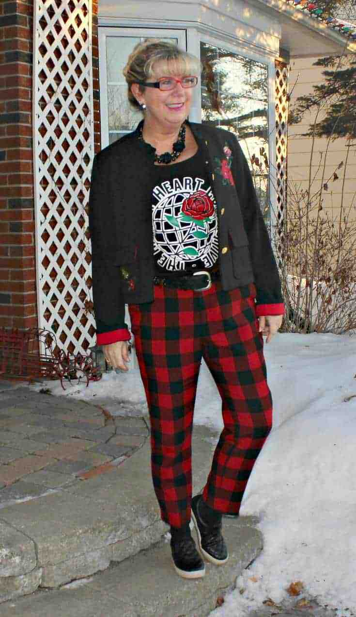 Valentine's Outfits in Old Navy Plaid Pants with an embroidered blazer and my Honest Heart Collective Hearts and Roses Tank