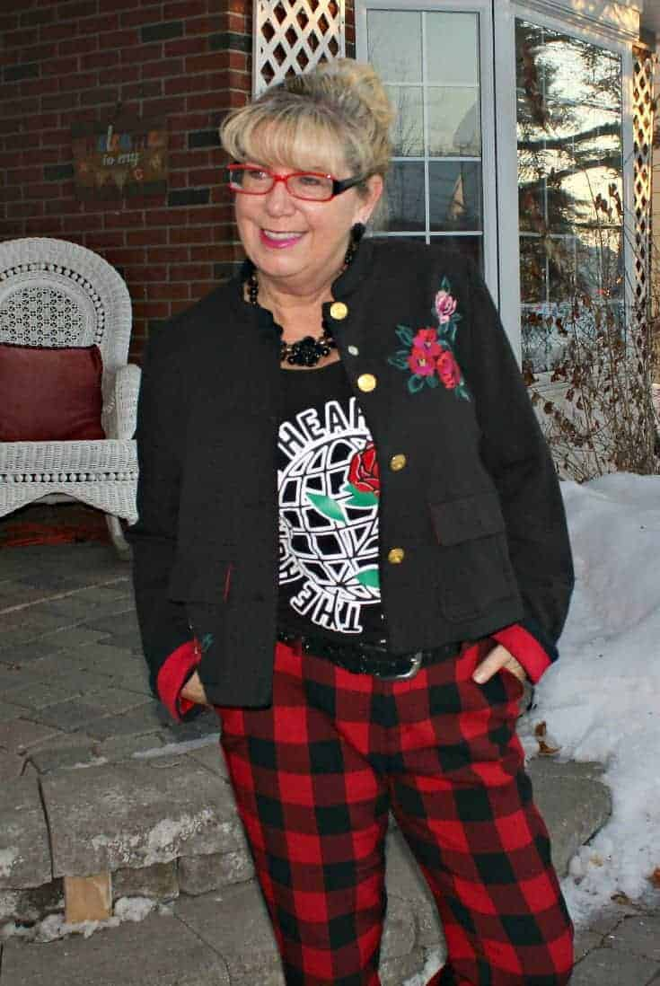 all in red with Old Navy Plaid Pants with an embroidered blazer and my Honest Heart Collective Hearts and Roses Tank