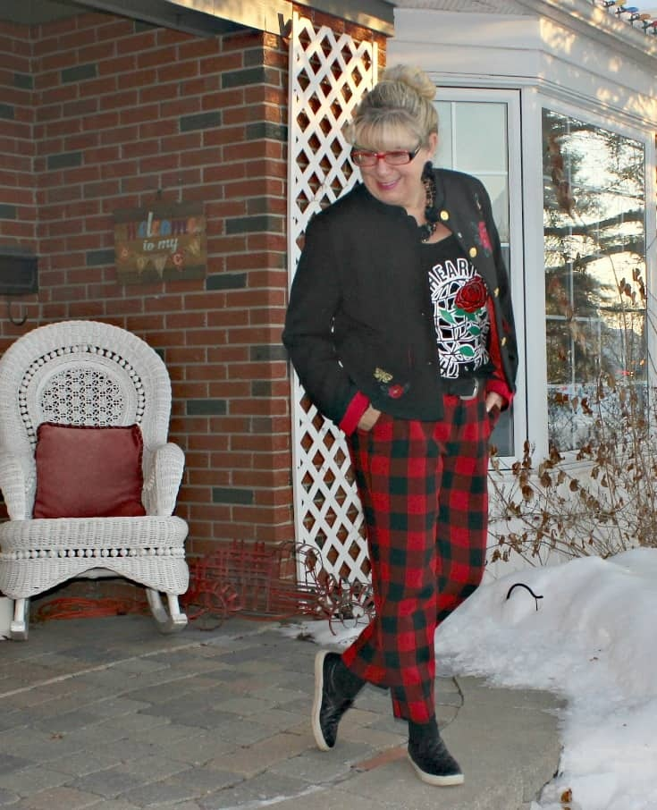 celebrating the day in Old Navy Plaid Pants with an embroidered blazer and my Honest Heart Collective Hearts and Roses Tank