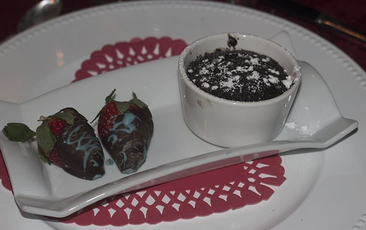 Homemade Carnival Chocolate Melting Cake with strawberries