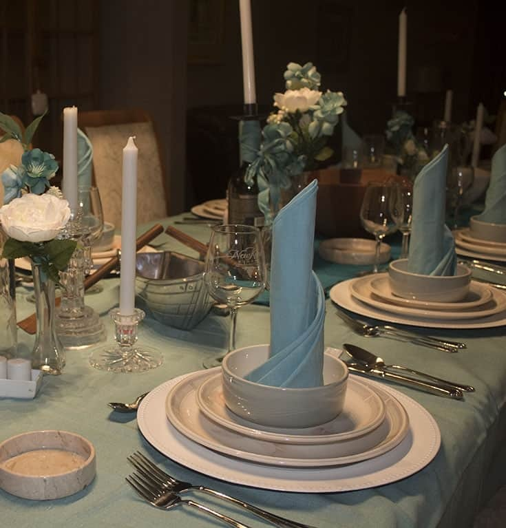 A Frozen Table or fit for a Spring Wedding and fun napkin folds