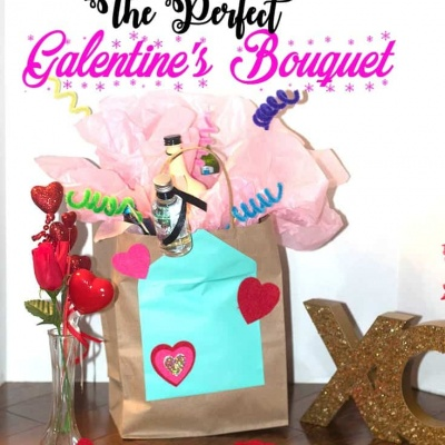 galentines alcohol bouguet