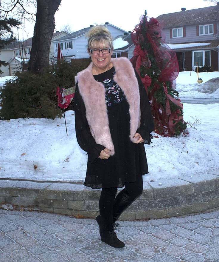 a fun pink fur vest and an embroidered smock dress from Target. With Svelte Shapewear