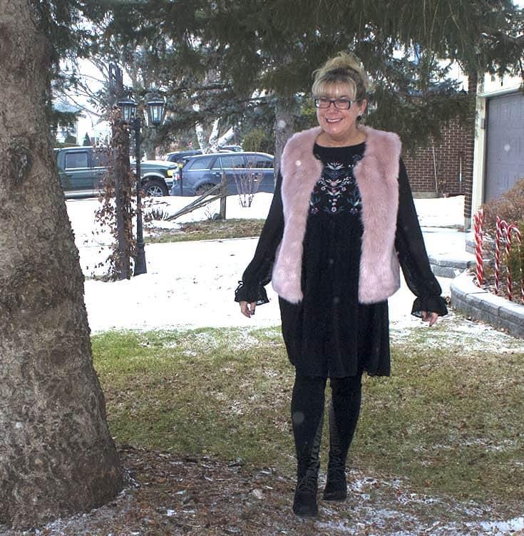 Floral smock dress from Target with a fun pink fur vest