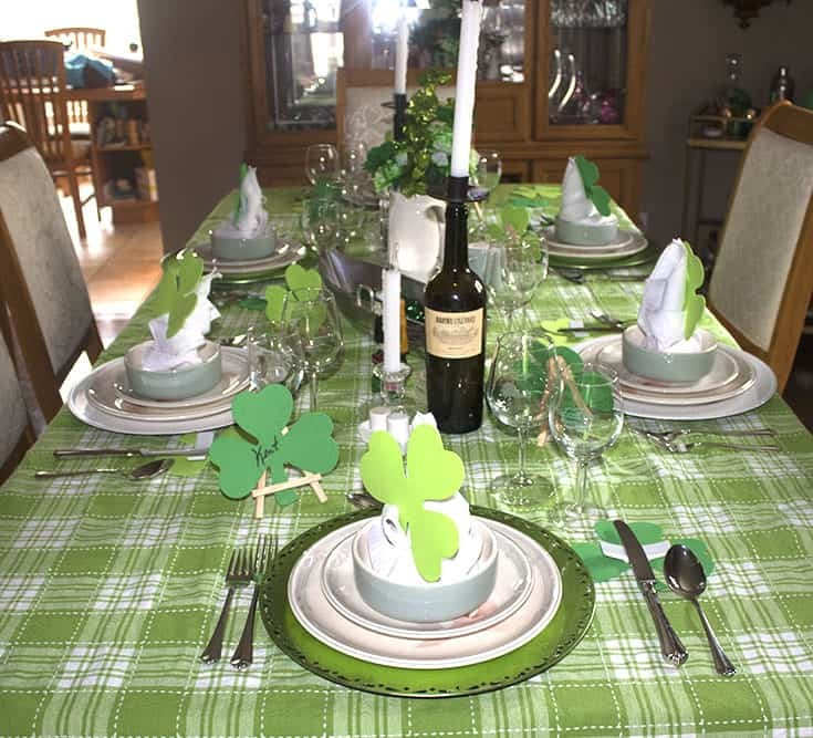 St Patrick's Day Table with shamrocks