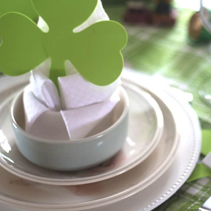 lily napkin fold with shamrocks