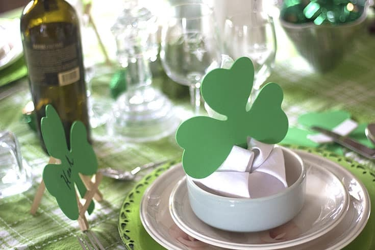 lily napkin fold with my St Patrick's Day Tablescapes
