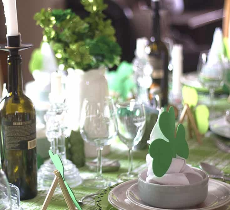 St Patrick's Day Tablescapes with clover decor