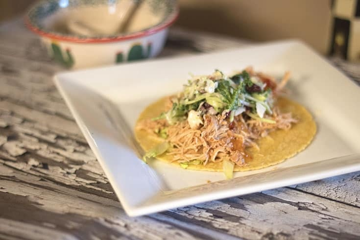 Slow Cooker Shredded Salsa Chicken with a sweet kale slaw