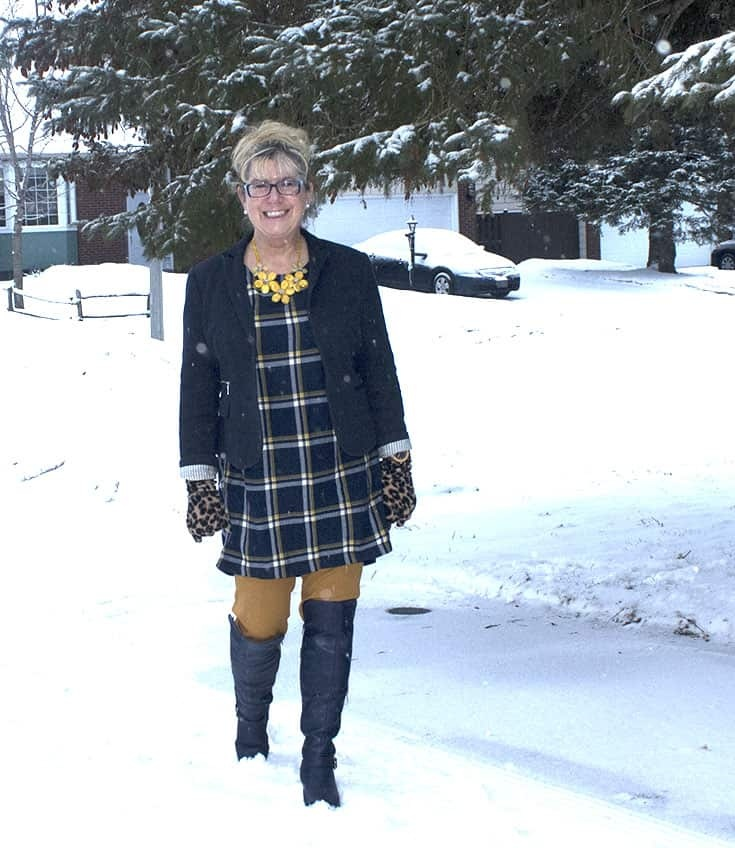 My Old Navy Plaid Tunic, Mustard Pixie pants and OTK Boots from Shoe dazzle