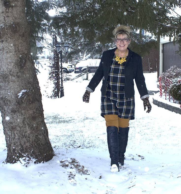 My Old Navy Plaid Tunic, Mustard Pixie pants and OTK Boots from Shoe dazzle topped with a navy Blazer and leopard gloves