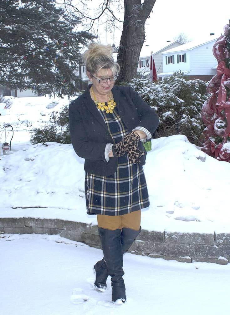 My Old Navy Plaid Tunic, Mustard Pixie pants and OTK Boots from Shoe dazzle topped with leopard gloves