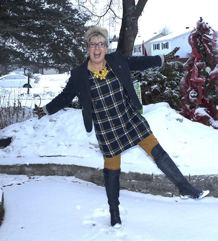 My Old Navy Plaid Tunic, Mustard Pixie pants and OTK Boots from Shoe dazzle topped with a navy Blazer and yellow floral necklace