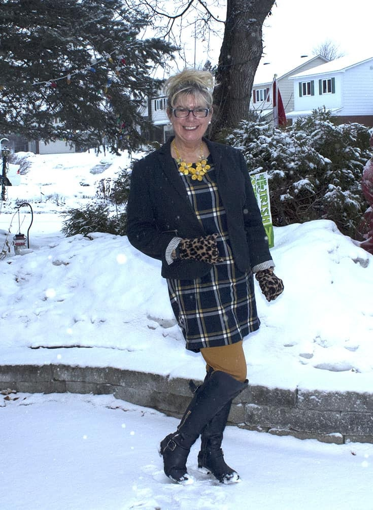 My Old Navy Plaid Tunic, Pixie pants and OTK Boots from Shoe dazzle topped and leopard gloves