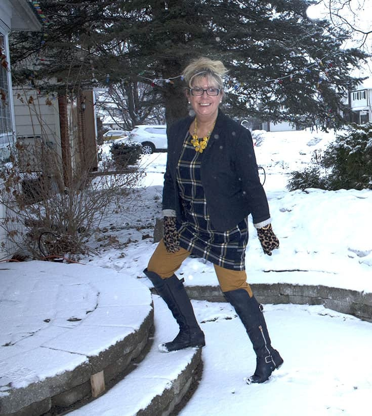 My Old Navy Plaid Tunic, Mustard Pixie pants and OTK Boots from Shoe dazzle matched with a blazer from Ricki's