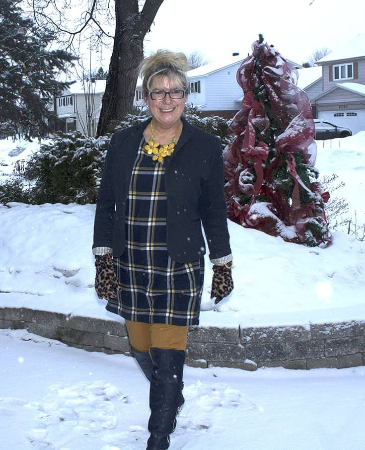 My Old Navy Plaid Tunic, Mustard Pixie pants and OTK Boots from Shoe dazzle topped with a Ricki's Blazer