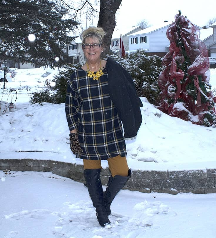 My Old Navy Plaid Tunic, Mustard Pixie pants and OTK Navy Boots from Shoe dazzle