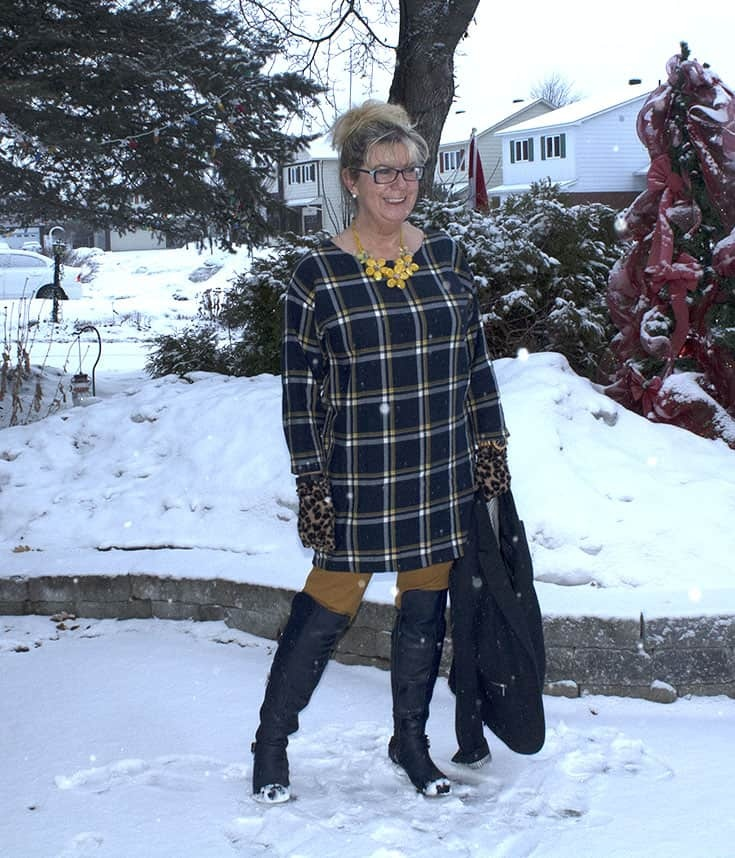 y Old Navy Plaid Tunic, Mustard Pixie pants and OTK Navy Boots from Shoe dazzle topped with a navy Blazer and leopard gloves