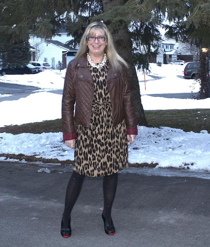 Joe Fresh Leopard Dress with a Brown Moto and Ruby Blues Shoes